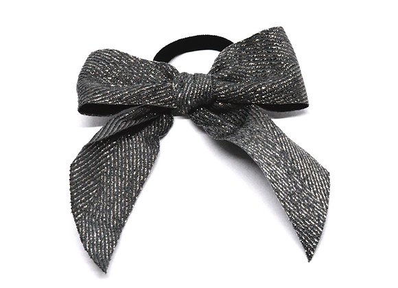 Grey & Silver Bow Hair Tie