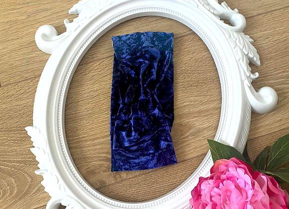 Blue Crushed velvet Turban Twist Effect Headband