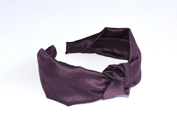 Dark Purple Satin Knot Hairband