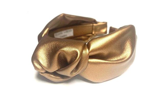 Bronze Metallic Faux leather Knot Hairband