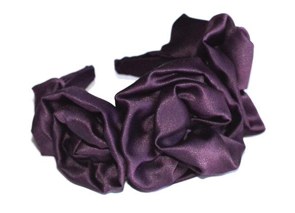 Purple Satin Floral-style hairband