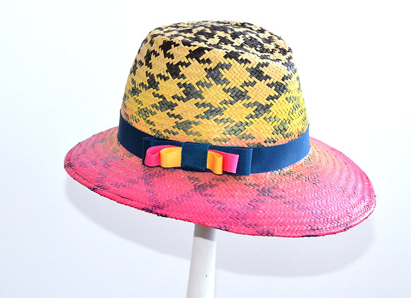 Pink,Yellow, Teal Straw Sunhat Fedora Trilby