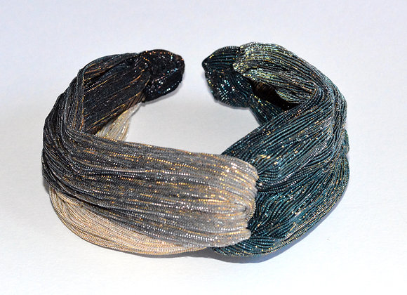 Turquoise, Brown, Beige, Gold Shimmer Twist Headband