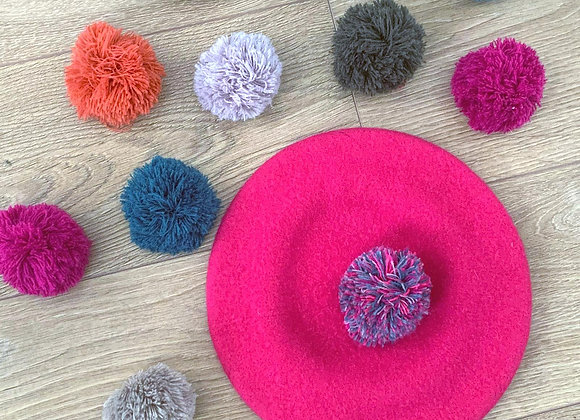 Pink Wool Beret with Multi-coloured Pompom.