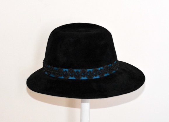 Black Trilby with Teal