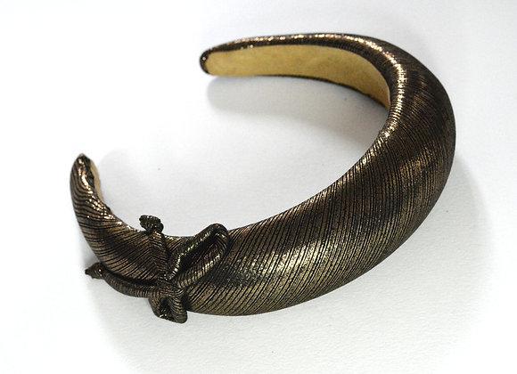 Gold & Black Padded Headband With Bow