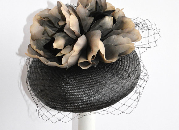 Grey Hat with Veiling and Flower Trim