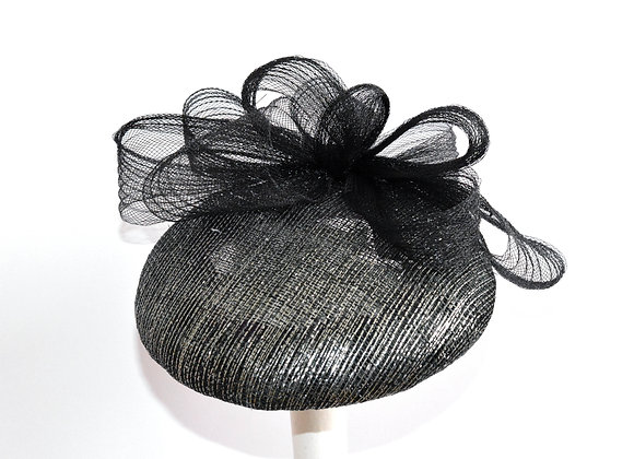 Black Sinamay with Silver Lurex and Black Tirm Hat
