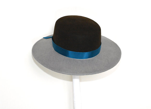 Grey and Brown Felt Hat with Teal Bow Trim
