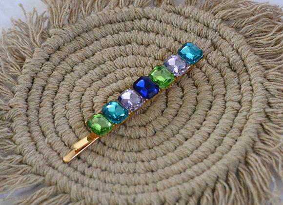 Blue - Green - Lilac Diamante Hairpin