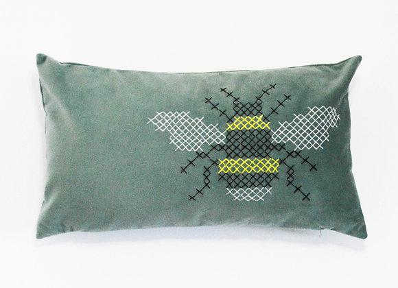 Plush Lagoon Green Velvet Bee Cushion - Embroidery - Tapestry