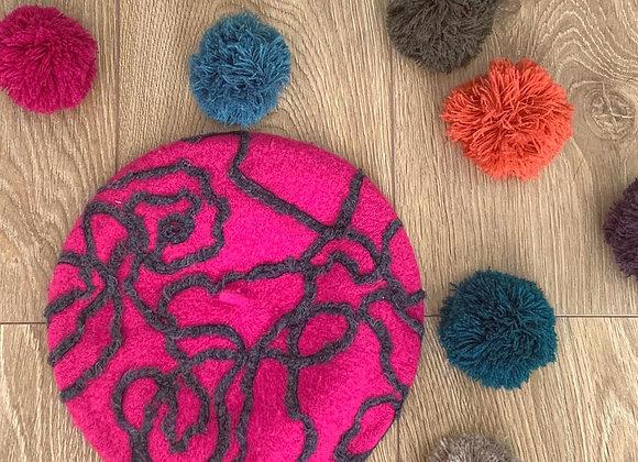 Fuchsia Pink Wool Beret with Grey Swirl Pattern