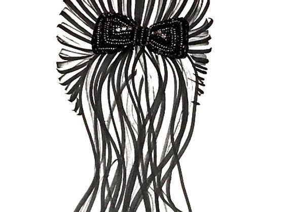 Beaded Bow Hair Tie