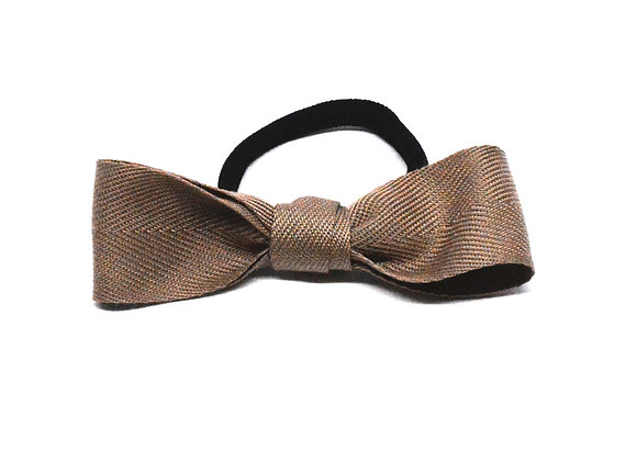 Stone Beige Ribbon Bow Hair Tie