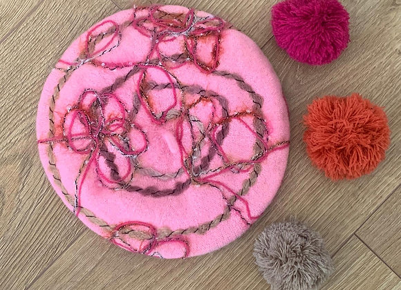 Pale Pink Wool Beret with multi coloured swirl trim.