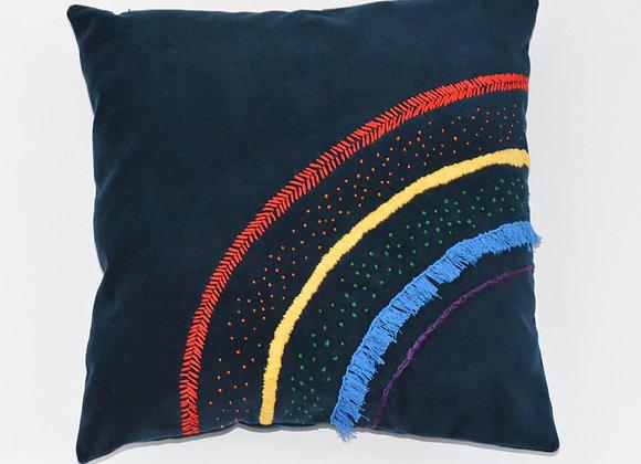Navy/Indigo Velvet Embroidered Rainbow Cushion - Embroidery - Tapestry