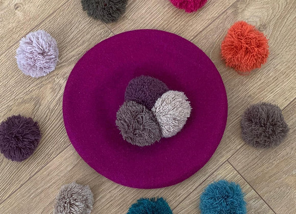 Purple Wool Beret with 3 Pompoms