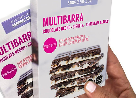MULTIBARRA CHOCOLATE NEGRO, CIRUELA, CHOCOLATE BLANCO