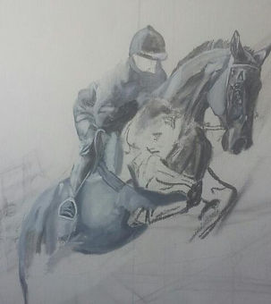 painted sketch of Tyson the horse