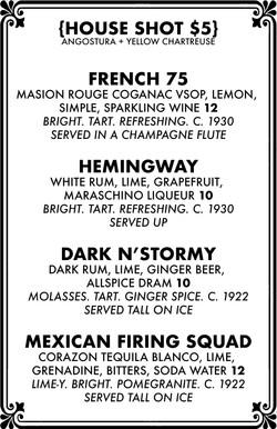 Cocktail menu 1 of 4