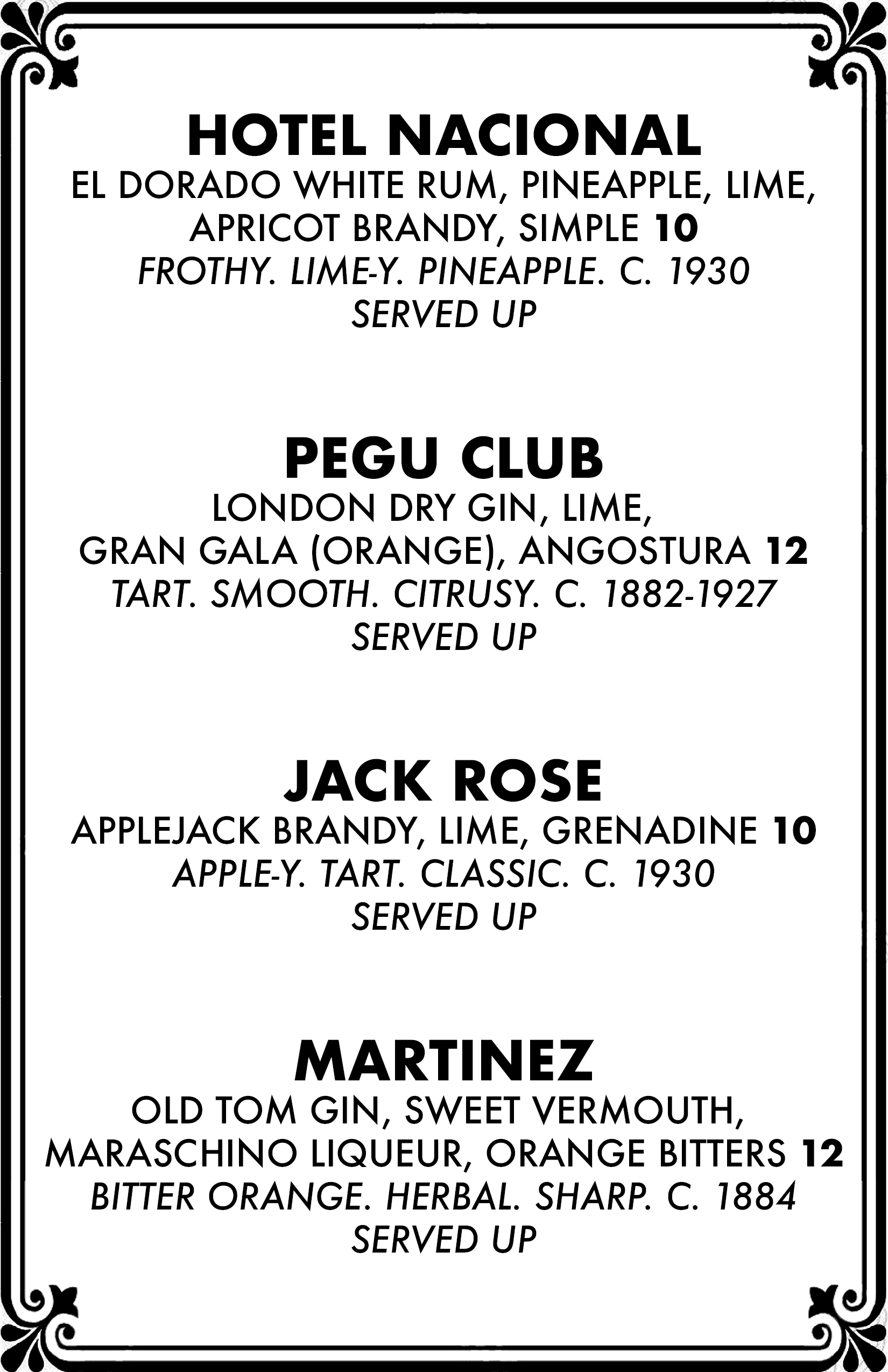 Cocktail menu 2 of 4