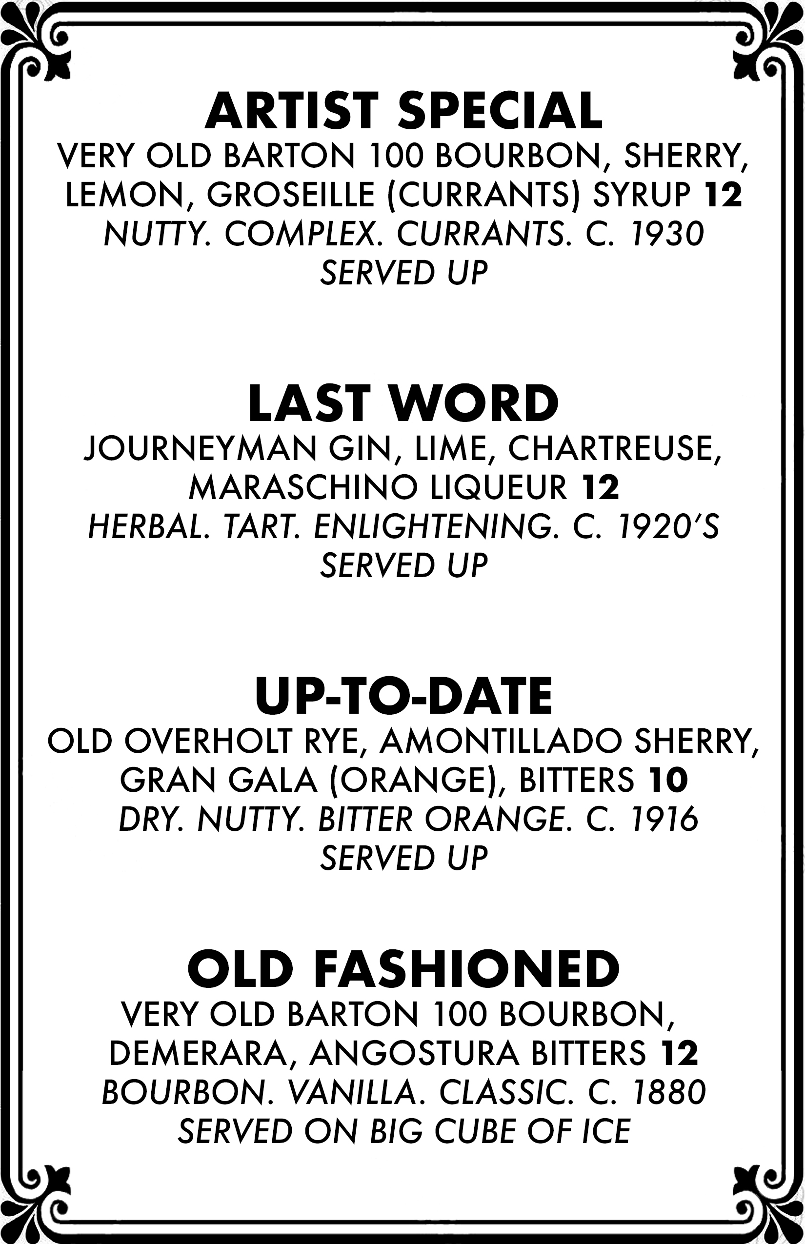 Cocktail menu 3 of 4