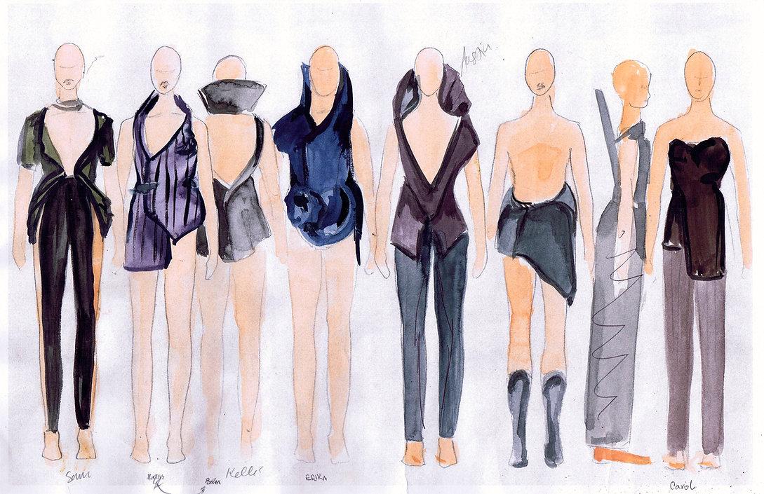 Rough Costume Sketches for Scrap Dance Piece