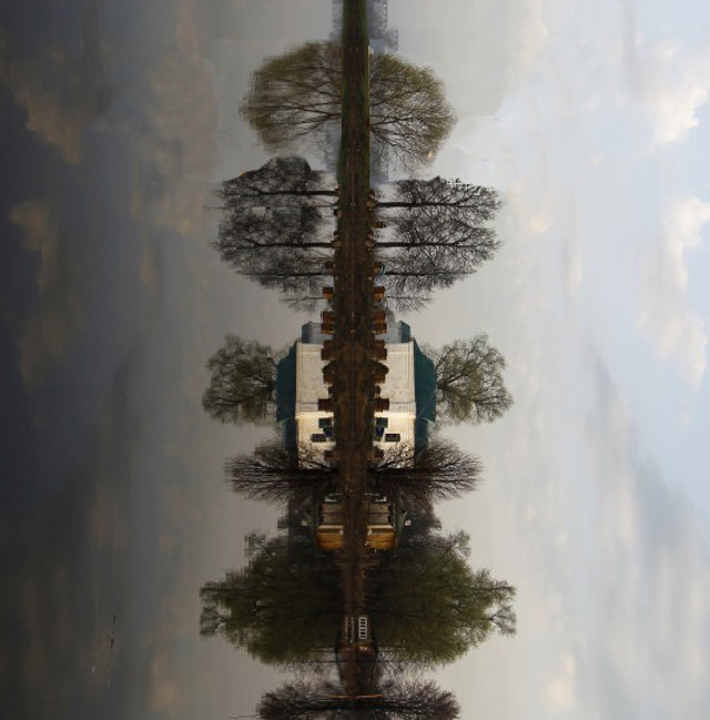 Shifted perspective of Lakeside town of Pokrov, Russia