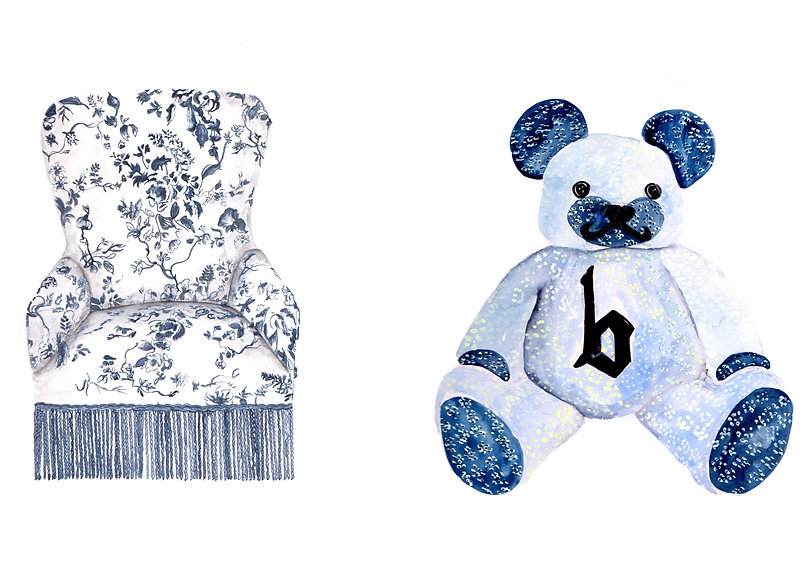 B Store, House of Hackney chair and Liberty London teddybear watercolour fashion illustrations.