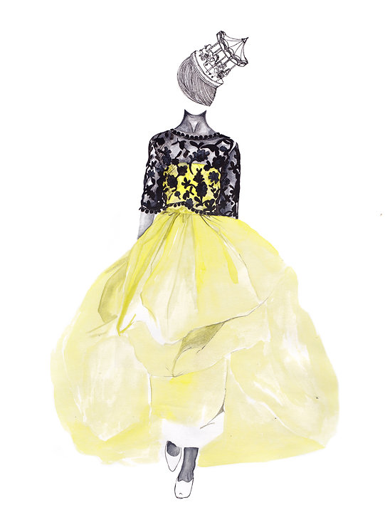 Oscar De La Renta watercolour fashion illustration.
