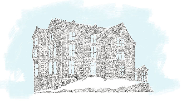 Illustration of old house in Bally McCool, Ireland.