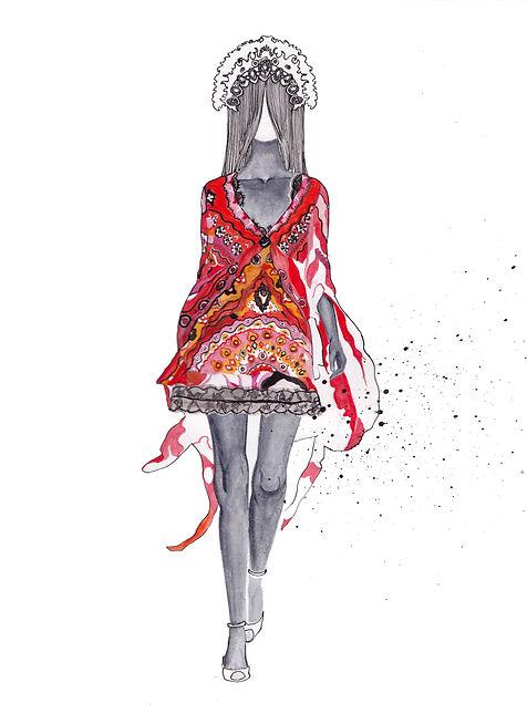 Pucci watercolour fashion illustration.