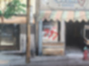 Close up painting of street scene, shop front, architecture in Canada.