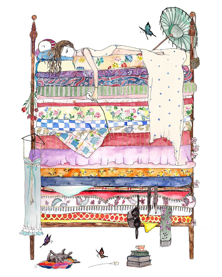 Girl in bed illustration. Princess and the pea.