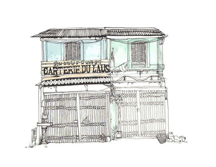 Illustration of bakery in Vientiane, Laos.
