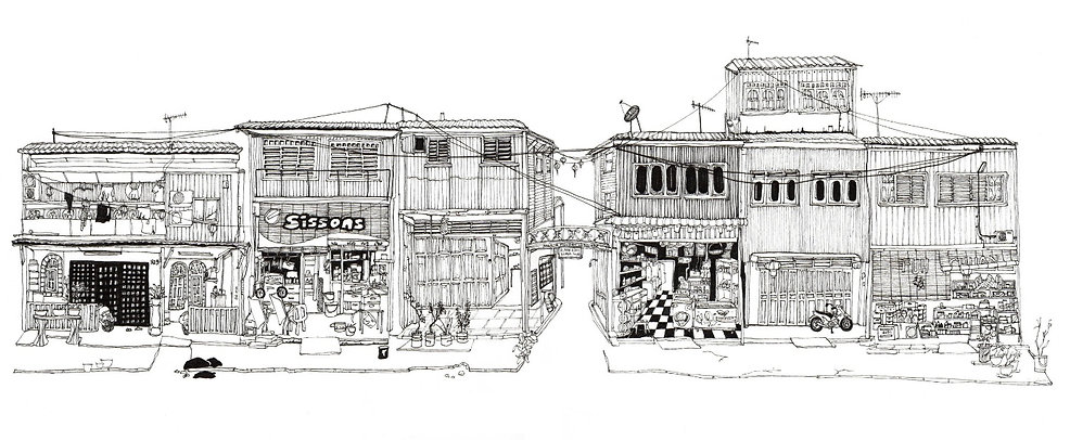 Illustration of shop houses in Palau Pangkor, Malaysia.