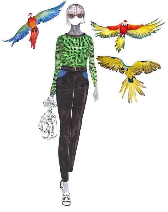 Kenzo watercolour fashion illustration.