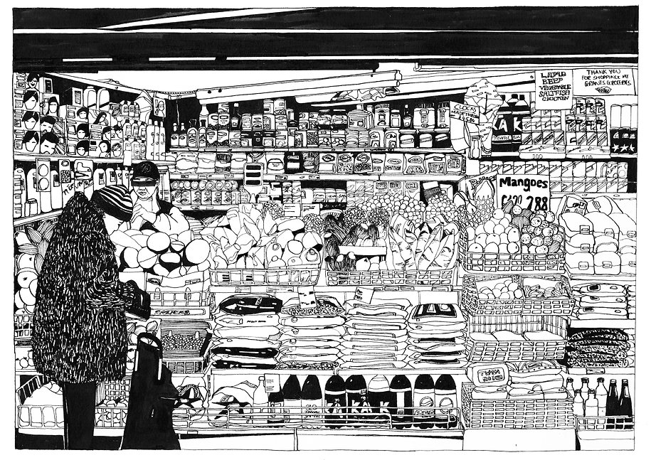Illustration of fruit market stall, Castle Market, Sheffield.