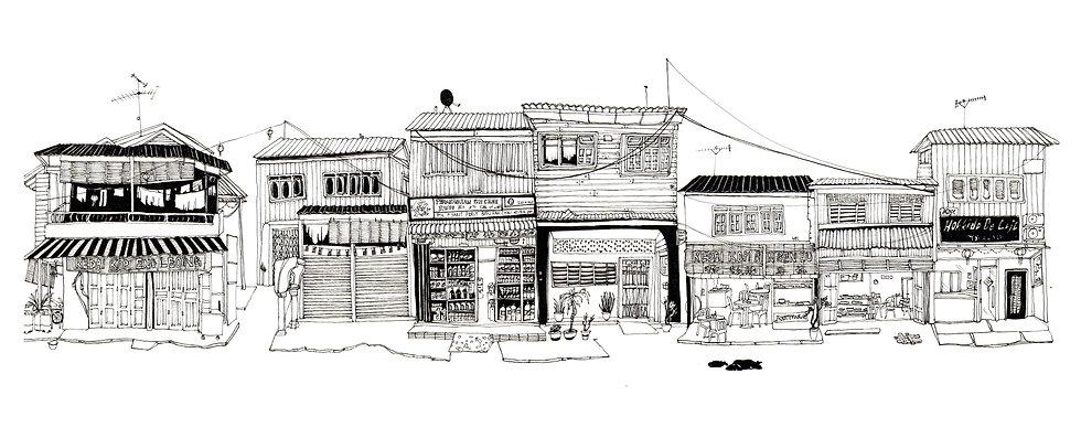 Illustration of shophouses in Palau Pangkor, Malaysia.
