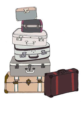 Vintage suitcase illustration.