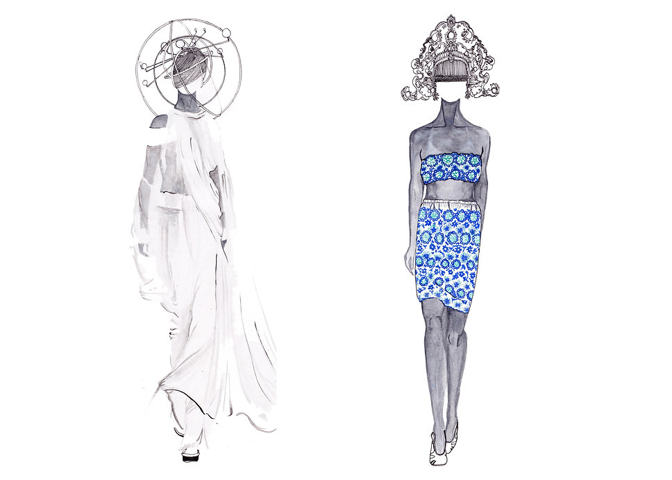 Ann Demeulemeester and Gucci watercolour fashion illustrations.
