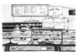 Illustration of bagel shop in Brick Lane, London.