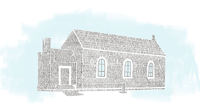 Illustration of church in Dungloe, Ireland.