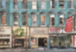 Painting of shop front, street scene, architecture in Canada.