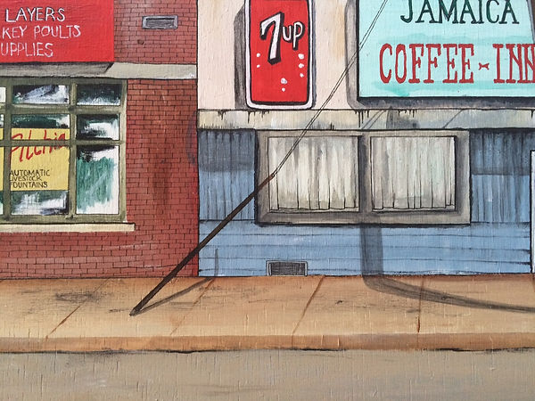 Detail of painting of street scene in CA, USA.