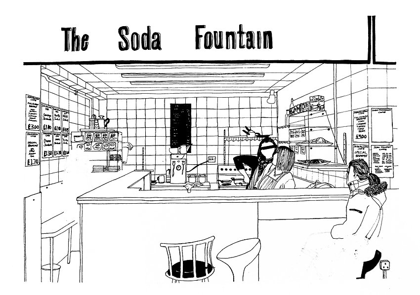 Illustration of The Soda Fountain, Castle Market, Sheffield.