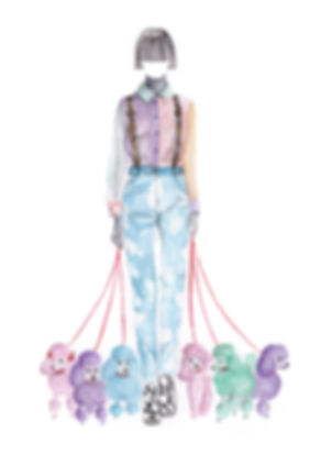 House of Holland and poodle watercolour fashion illustration.