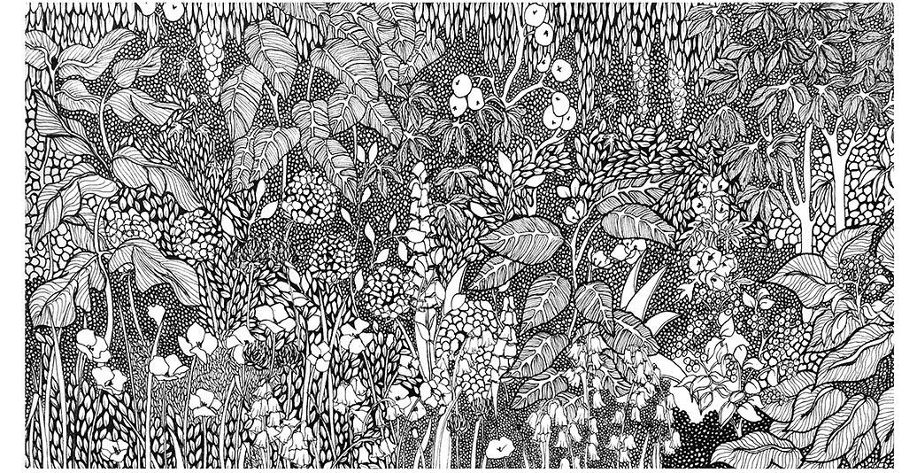 Illustration of flowers, trees, poppies, apple trees, hollyhocks.
