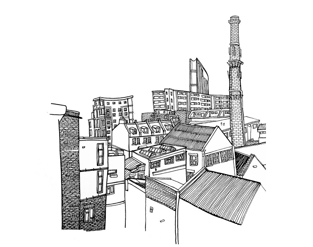 Illustration of Hackney, East London rooftop.