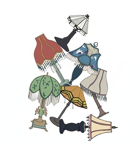 Vintage lampshade illustration.